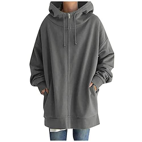 BIBOKAOKE Sudadera de invierno para mujer, cuello alto, manga larga, con capucha, cierre de cremallera, abrigo largo con capucha, chaqueta de invierno, suelta, abrigo de entretiempo