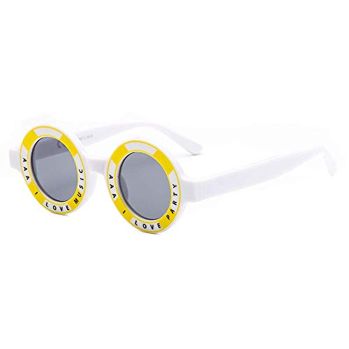 Mode Ronde Leuke Brief Zonnebril Party Shades Tiener Student Brillen Grappige Oogkleding