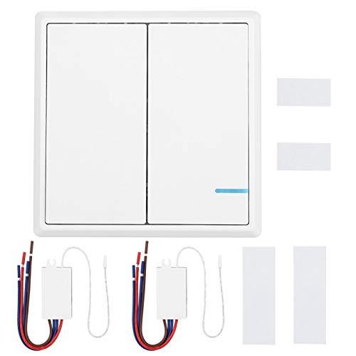 Interruptor de control remoto, interruptor de relé de receptor de control múltiple, kit de interruptor de control de lámparas fácil de instalar para oficina en casa(2-way wireless switch, pink)