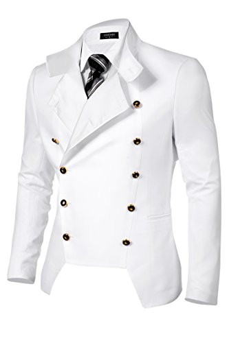 COOFANDY Men's Casual Double-Breasted Jacket Slim Fit Blazer (Medium, White(FBA))