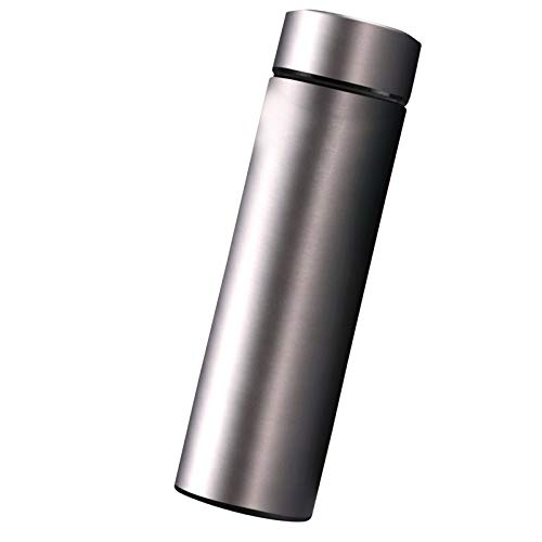 AILIEE Edelstahl Stahl Thermosflasche LCD-temperaturanzeige Smart Kettle USB Mobile Power Trinkflasche Edelstahl 304 Isolierflasche Travel Mug Thermo-/isolierbecher 500ml (#3 Dunkelgrau, 20x6.5cm)