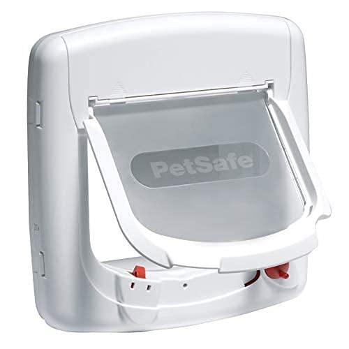 PetSafe Deluxe Magnetische Katzenklappe, Magnetschloss, Inklusive Magnet Halsbandanhänger und Katzen Halsband, Selektiver Zugang, 4 manuelle Verschlussoptionen, Katzen bis 7kg, weiß