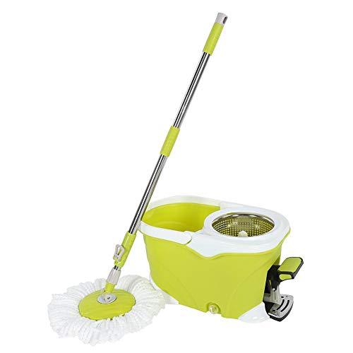 CjnJX-Vases Trapeador de 360 Grados, trapeador de pie, trapeador de Microfibra Que Ahorra Trabajo y Sistema de Limpieza de Pisos con Cubos para jardín, Gran Capacidad de Agua