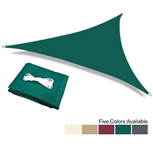 Myan - Toldo de vela impermeable con 95 % de bloqueo UV al aire libre, jardín, patio, fiesta, toldo, triángulo con cuerda gratis, 5 colores y 11 tamaños, Verde, 4x4x5.7m