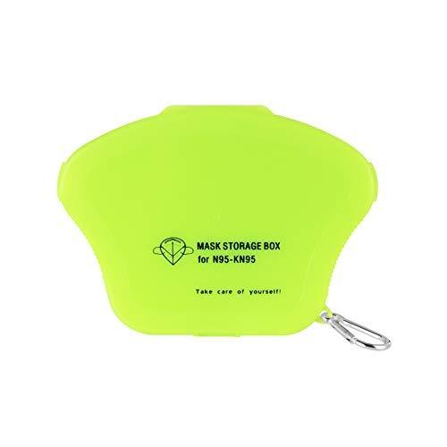 Ousyaah Caja de Almacenamiento Portátil para Mascarillas Desechables para Niños Caja de Limpieza a Prueba de Polvo y Humedad Clip de Almacenamiento (Verde)