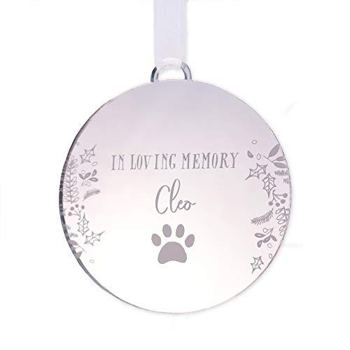 Pet memorial ornament   personalised in memory of cat or dog bauble   christmas pet gift