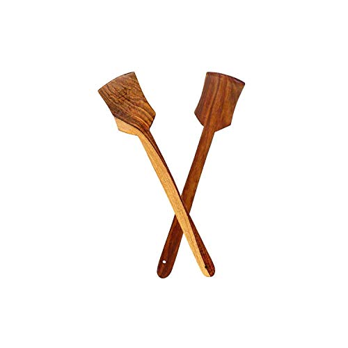 Incredible Hub Wooden Non-Toxic Spatula |Spoons, Wooden Cooking Spoons Set of 2 - Flip Flap (Palta for Dosa/Roti | Handmade | Ideal for Non Stick)