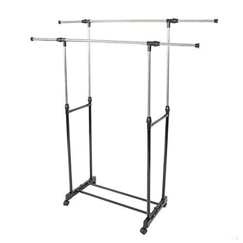 Perchero de doble barra con estante para zapatos y ruedas, de acero inoxidable horizontal y vertical para dormitorio, balcón