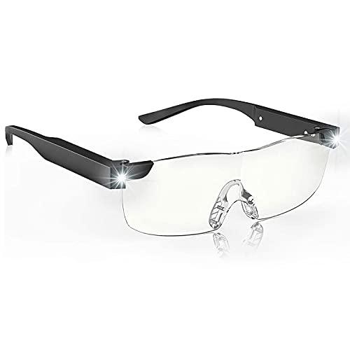 SKYWAY Anti-Blaulicht Lupenbrille mit Licht, 200% LED beleuchtete wiederaufladbare Lupenbrillen zum Lesen von Hobbys und zum Arbeiten, Big Vision Brillen
