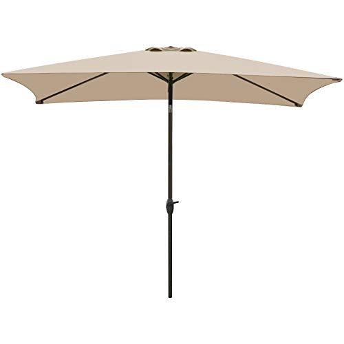 VEGOND Patio Umbrella Rectangular Table Umbrella Outdoor...