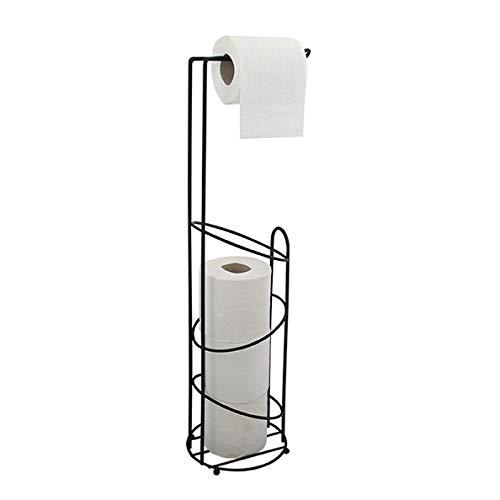 MSV Holly Stehender Toilettenpapierhalter B x H x T: Toilettenpapierhalter und Ersatzrollen - freistehend - 15 x 62 x 15 cm - Mattschwarz