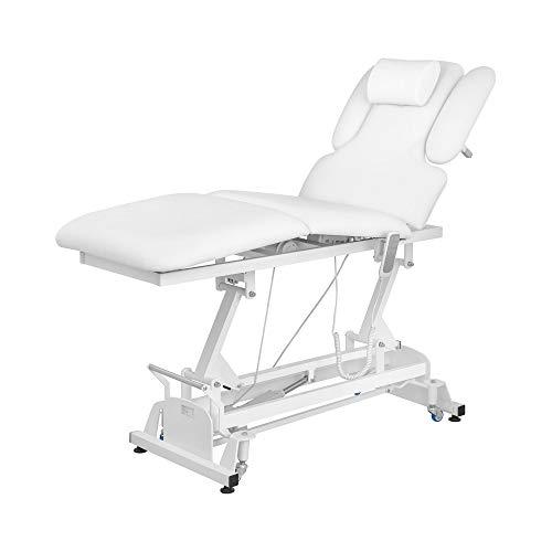 Physa Massageliege elektrisch höhenverstellbar Massagetisch Massagebett Behandlungsliege NANTES WHITE (Weiß, Kunstleder, Schaumstoff-Polsterung, Fernbedienung)