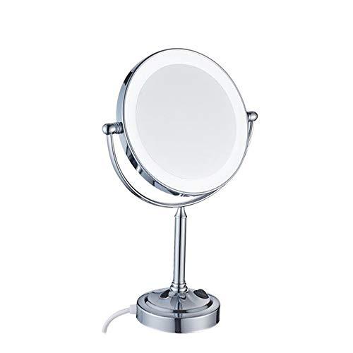 Miroir Cosmétique avec Éclairage LED, Miroir Maquillage Grossissant Double Face Pivotant 360° Miroir De Voyage pour Maquillage Rasage 8-inch,7X