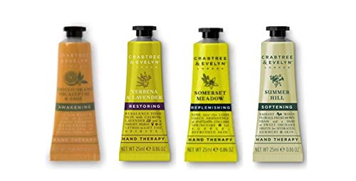 Crabtree and Evelyn Hand Therapy Sampler 4 pc set Tarocco & Orange,Verbena & Lavender,Somerset Meadow and Summer Hill each 0.9 oz Travel size