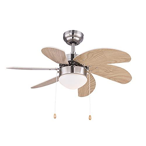 Ventilador De Techo Con Lámpara Incorporada, Diseño Único, Silencioso, Potente, 6 Cuchillas De Madera, Control Remoto, Diámetro 78Cm
