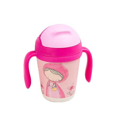 Botella de Paja de Fibra de bambú de 300 ml Taza de Agua portátil para bebés Taza de Agua con asa para niños - Sombrero Rojo