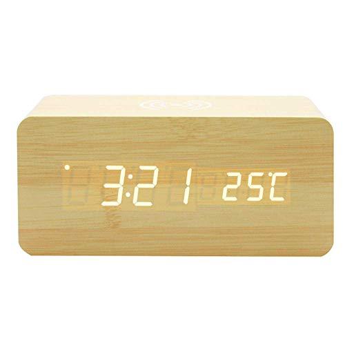 TEHWDE LED spraakgestuurde houten wekker met draadloos laden, snel opladen, spraakgestuurde digitale klok rechthoek modern LED Home-Brown