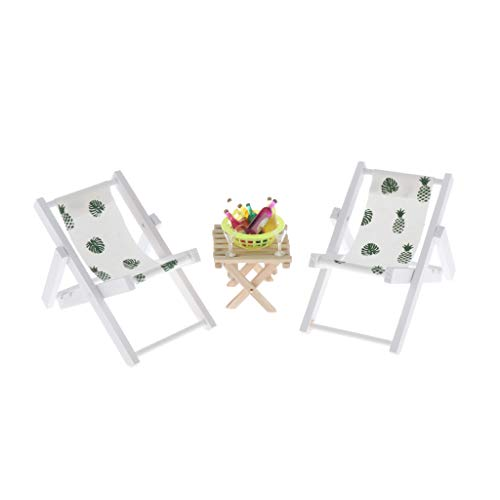 Sharplace Sillas de en Miniatura de Casa de Muñecas 1: 6 con Accesorios para Exteriores Wine Beach Set - Verde