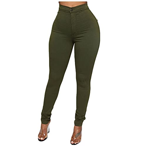 YANFANG Leggings Ajustados De Pantalones Casuales para Mujer,Pantalones Mujer Moda Estirar Cintura Alta Levantamiento GlúTeos Pitillo,Leggins Elegantes Push Up Slim Fit Fitness Deportivo,Verde,XL