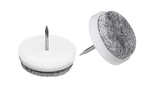 Metafranc Filz-Gleiter Ø 25 mm - Mit Nagel - weiß - 50 Stück - Effektiver Schutz Ihrer Möbel & Stühle / Möbelgleiter-Set für empfindliche Böden / Stuhlgleiter / Bodengleiter / 644076