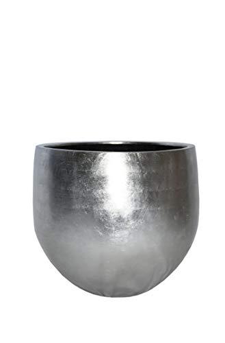 Pflanzkübel Yoko aus Fiberglas in Hochglanz Silber - Größe (ØxH): Ø47x45 cm, Blumenkübel, Pflanztöpfe