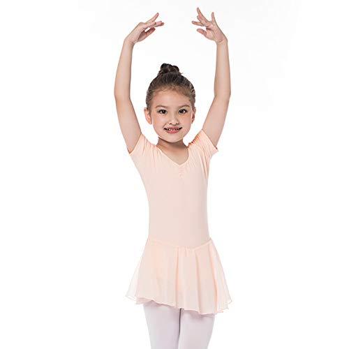 Kinder Ballettkleidung Mädchen Ballettkleid Kurzarm Balletttrikot Ballettanzug Tanzkleid Tanzbody aus Baumwolle mit Chiffon Rock Tütü 120