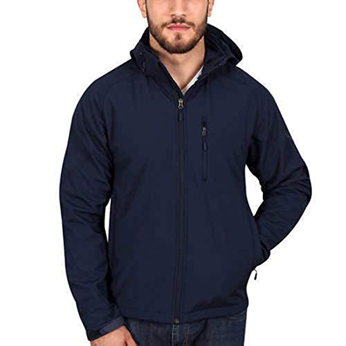 Kirkland Signature Men's Sherpa Lined Softshell Detachable Hood (L, Navy)