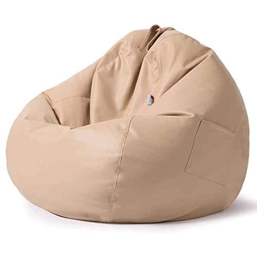 LDIW Sitzsack aus Kunstleder, (ohne Füllung) Naturleder, für den Innen- und Außenbereich, Abnehmbarer Bezug, lebensmittelechte EPS-Perlen als Bean-Bag-Füllung,80 * 90cm