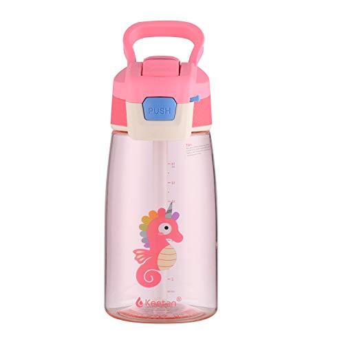 Keetan botella de agua para niños con pajita, botella reutilizable para la escuela, sin BPA, a prueba de fugas, 480ml, Rosa