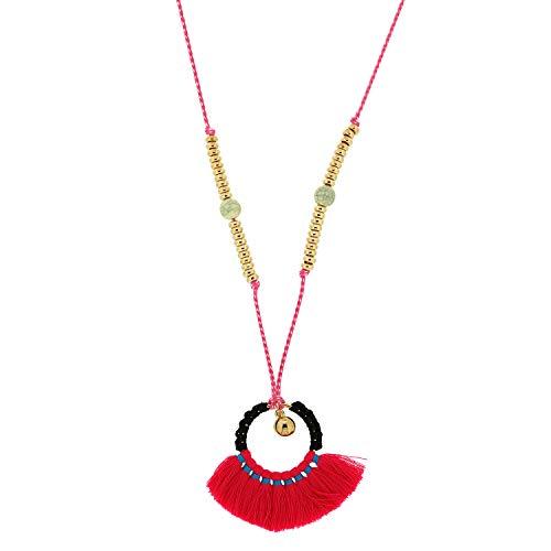 Sweet Deluxe Kette Sunshine, Gold/Fuchsia I Elegante Halskette für Damen, Frauen & Mädchen I Halsband Modeschmuck I Designer Necklace