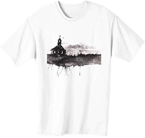 Camiseta para hombre de la iglesia abandonada temtica de Halloween bnft
