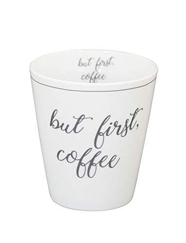 Krasilnikoff - Becher, Tasse - Happy Mugs - but First, Coffee - ca. 330 ml - Höhe: 10 cm - weiß/grau