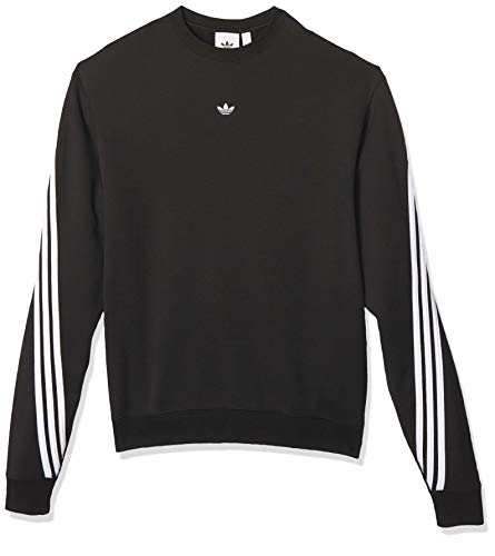 adidas Mens 3stripe Wrap Cr Pullover Sweater, Black/White, M