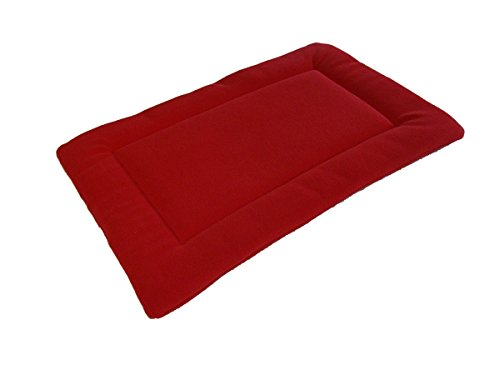 PnH Red Polar Fleece Quilted Dog Pad, Cage/Crate Mat - Large - 76cm x 122cm