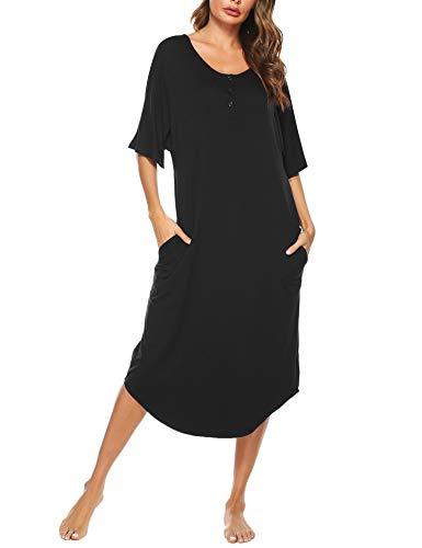 Aibrou Camisones Largos para Mujer, Camisón Largo Mujer Manga Corta Camisones Algodon Mujer para Dormir Verano con Bolsillo, Dobladillo Irregular Pijama Vestido per Hogar Casual Negro M