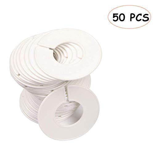 YianBestja Runde Kleiderbügel Teiler Kleidung Rack Größe Trenner Kleiderstange Größenfinder Kleiderständer für Kleiderschrank Bekleidungsgeschäft (50PCS Kleiderbügel Teiler)