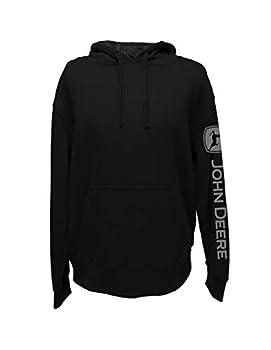 John Deere Solid Hoodie with Logo on Sleeve Black- XL