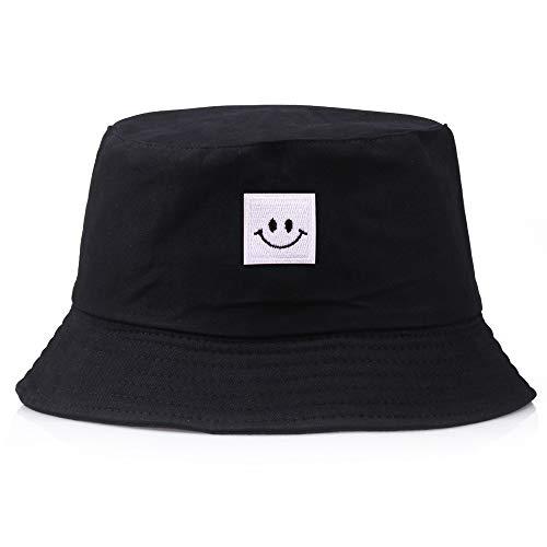 STaemin Outdoor-Sonnenschirm-Smiley-Quadrat-Roboter-Fischerhut, Cyan, Nicht verstellbar