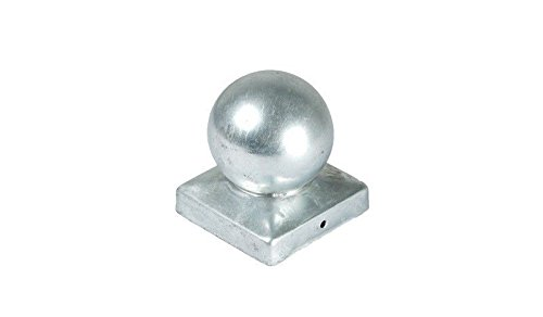 meingartenversand.de Pfostenkappe Kugel aus Stahl, verzinkt für 9 x 9 cm Zaunpfosten aus Stahl, verzinkt