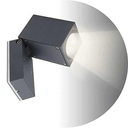 Topmo-plus 5W Bañadores de pared para interior / exterior resistente al agua IP65 foco de aluminio / sala de estar / terraza / jardín GU10 luces incluidas 10CM gris (Blanco natural)
