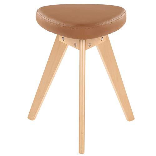 JIEER-C stoel Eetstoelen PU Kussen Thuis Eettafel Kruk Effen Hout Driehoek Beugel Leergewicht 130kg Slaapkamer Dressing Kruk 34x34x48cm (Kleur: Bruin) BRON