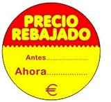 500 Etiquetas PRECIO REBAJADO. Antes Ahora. €. En papel fondo amarillo e impresas en rojo, de 50 mm. de diámetro. (se suministran en 1 rollo)