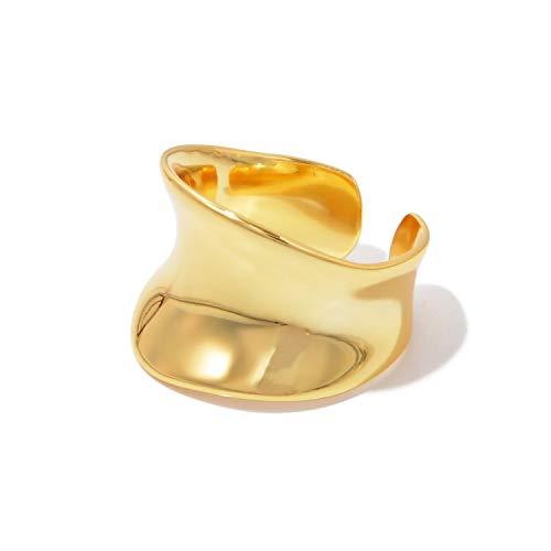 [NARU] シルバー925 ワイドプレート リング 【サイズ調整可能】 指輪 メンズ レディース フリーサイズ シンプル おしゃれ かわいい ペア おそろい カップル 人気 ブランド 18金メッキ 金 ゴールド