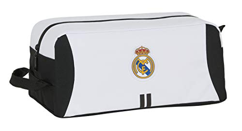 Safta- Real Madrid Accesorio de Viaje- Bolsa para Zapatos, Color Blanco/Negro, 340x180x150 mm (M440)