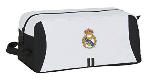 Safta- Real Madrid Accesorio de Viaje- Bolsa para Zapatos, Color Blanco/Negro, 340x180x150...