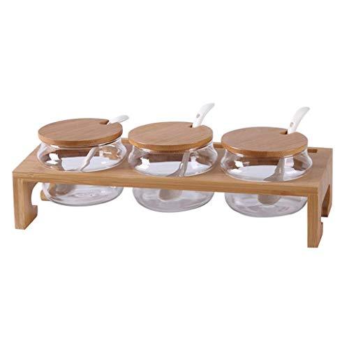 MANXUEUP Accesorios de Cocina Frascos de Almacenamiento de Vidrio para condimentos con Rejilla de bambú, Especias, azúcar, Sal, Pimienta, Chiles con Tapa
