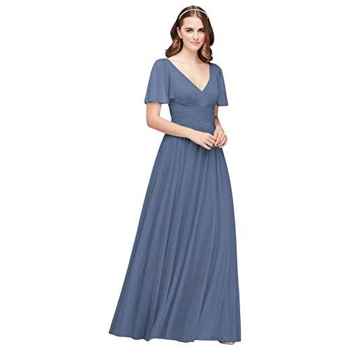 David's Bridal Flutter Sleeve Crisscross Mesh Bridesmaid Dress Style F19933, Steel Blue, 0