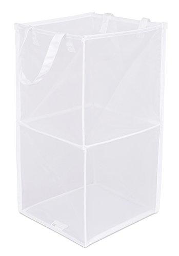 BIRDROCK HOME Pop-Up Magic Hamper - Collapsible Mesh Laundry Hamper - Square - Carry Handles - Dirty Laundry Sorter Mesh Basket - White