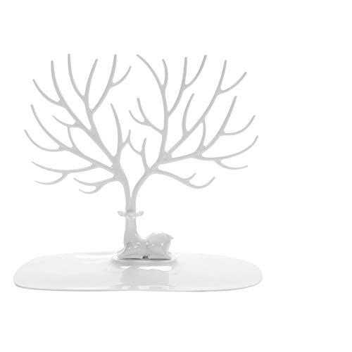 Hunpta - Soporte organizador de joyas – Soporte de mesa para collar y exhibición de joyas, estante de cuerno de alce con bandeja para organizar collares, pulseras, pendientes, anillos y relojes
