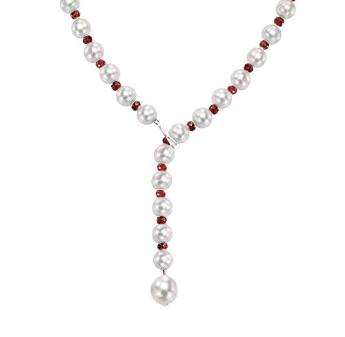 White Freshwater Cultured Pearl and Red Ruby Adjustable Necklace 14K White Gold Birthday Gift, 21'